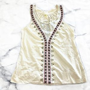 Anthropologie C. Keer Cream Embroidered Tank Top
